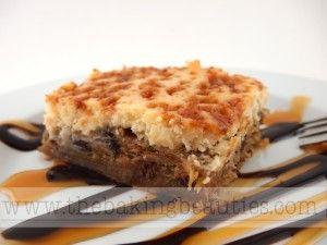 Gluten-Free Chocolate Kahlua Cheesecake Blondies #turtlebrownies