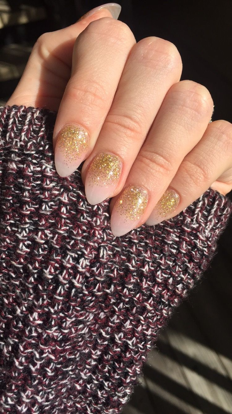 Pink and Gold Glitter Ombré Short Almond Shape Acrylic Nails | Nails ...