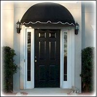 Black Front Door Awning With White Trim