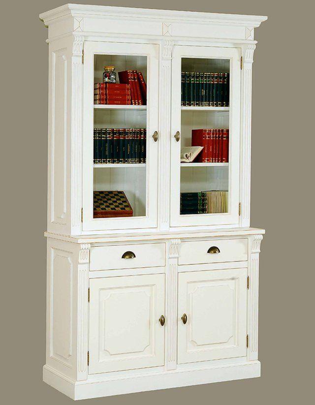 Libreria Chiusa Con Ante In Vetro.Cod Dm040 Libreria Completa 4 Ante 2 A Vetro E 2 Cassetti
