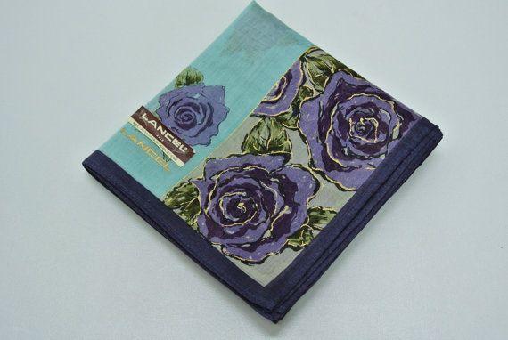 Lancel Paris Cotton Handkerchief Floral Pattern