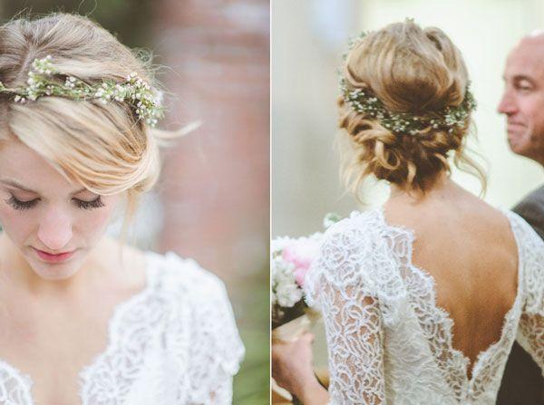 Tuto coiffure avec couronne de fleur