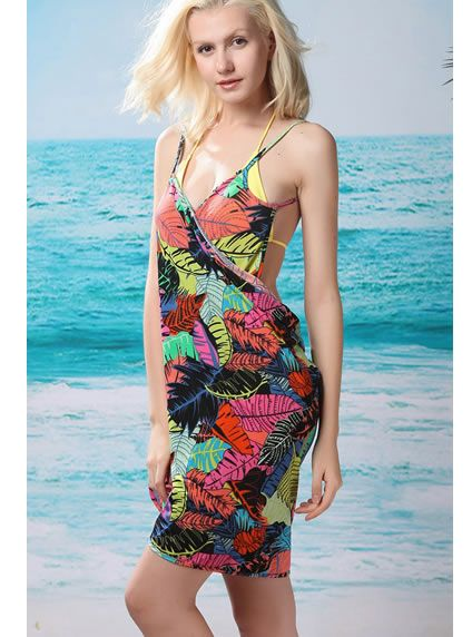 92a08c9800 Trendy Tropical Leaf Open Back Beach Cover-Up Dress | Beach Cover ...