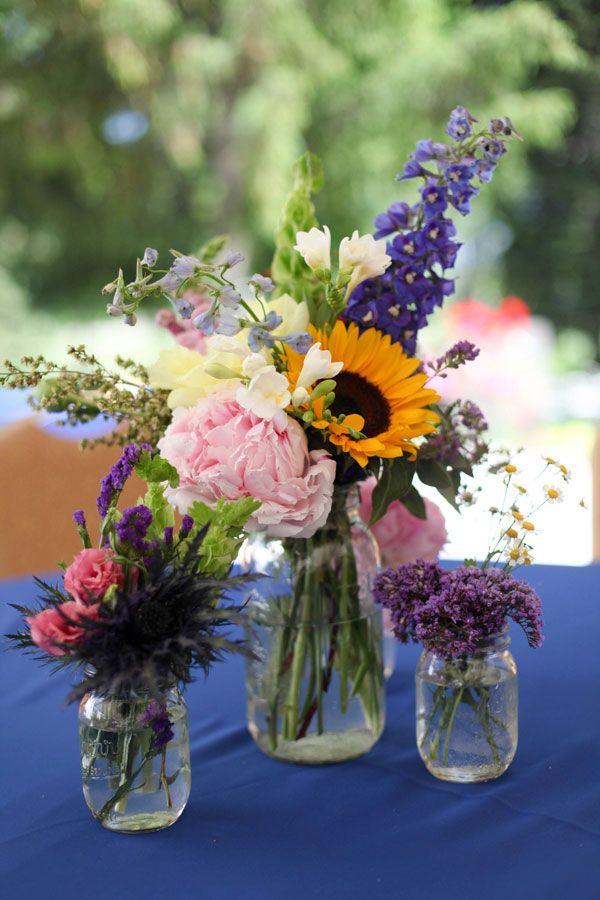 rustic wedding flower arrangements - Google Search | In Jars ...