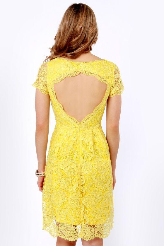 7747cb3acb8 Pretty Yellow Dress - Lace Dress - Backless Dress -  70.00