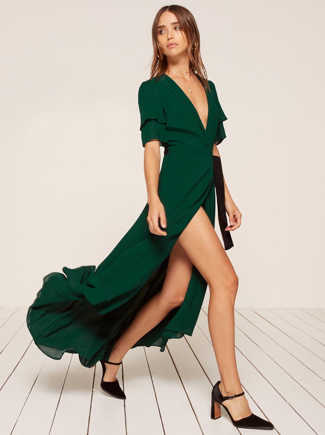 Layley emerald green maxi dress Reformation 54b1cb6b7