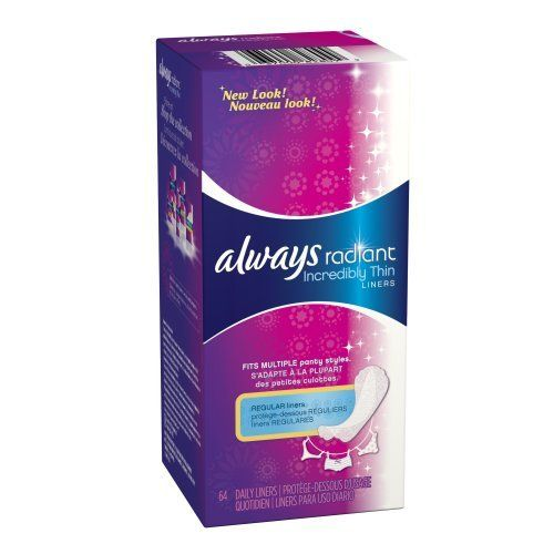 Always Radiant Incredibly Unscented Thin Liners 64 Count by Always. $5.21. Amazon.com Product Description      Daily Freshness. Artfully Designed. Our thinnest and most flexible protection, with edges that fold to fit multiple panty styles comfortably. Ideal for an everyday clean feeling, light-flow days, and tampon-backup protection. If you like Always® Radiant™ Incredibly Thin™ Daily Liners, also try Tampax® Radiant™ Tampons and Always® Radiant™ Inf...