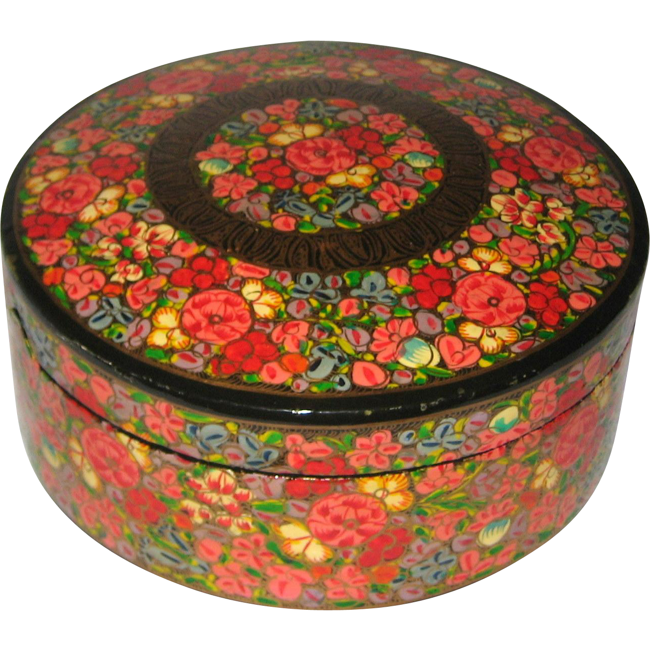 papier cache Kashmir India Papier-Mache Cache Box Hand Painted in Bright Floral Design