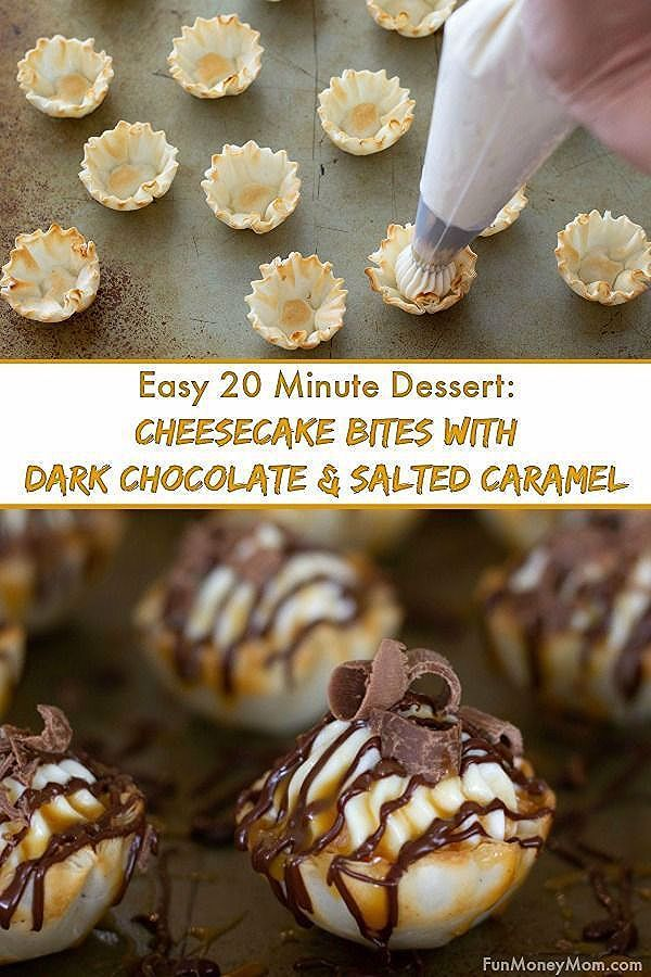 Dark Chocolate and Salted Caramel Cheesecake Bites