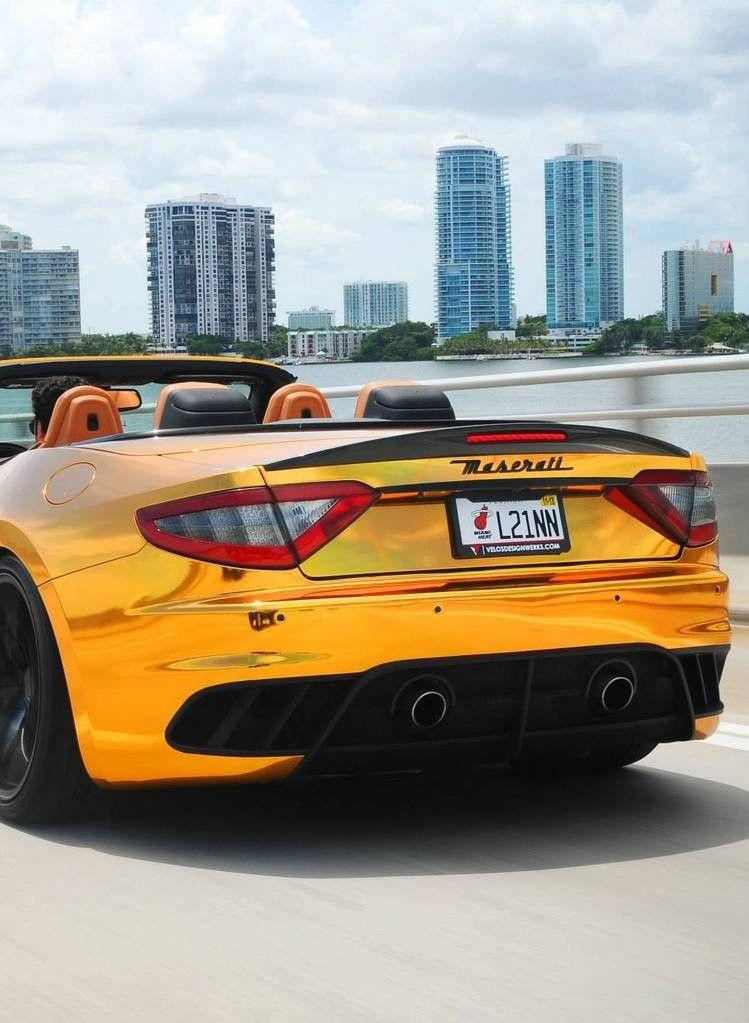 Maserati Gran Cabrio. Cars Auto Speed Race Gold Chrome Convertible