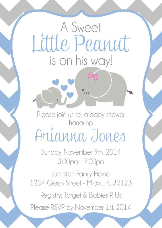 Baby Elephant Themed Baby Shower Invitation Baby Shower