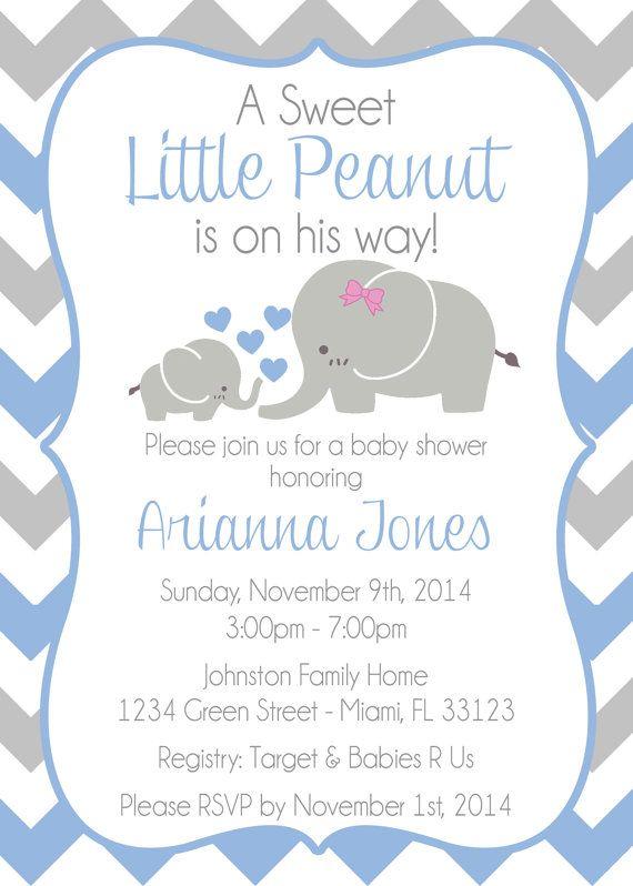 Baby Elephant Themed Shower Invitation