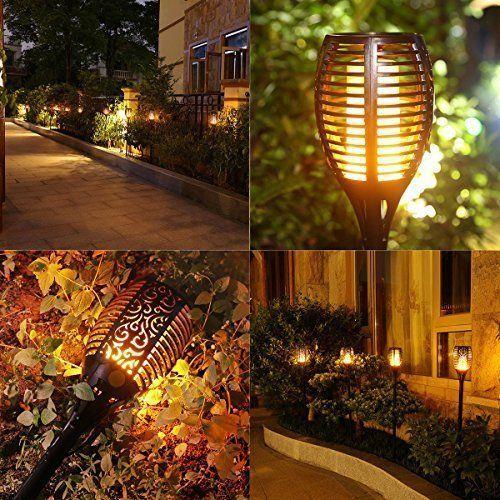 wireless solar led lights flickering torch lantern for garden patio