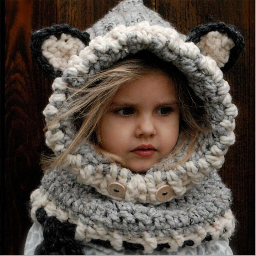 New Korean Winter Warm Neck Wrap Fox Scarf Caps Cute Autumn Children Wool Knitted  Hats Baby Girls Shawls Hooded Cowl Beanie Caps. ad72f53041f9