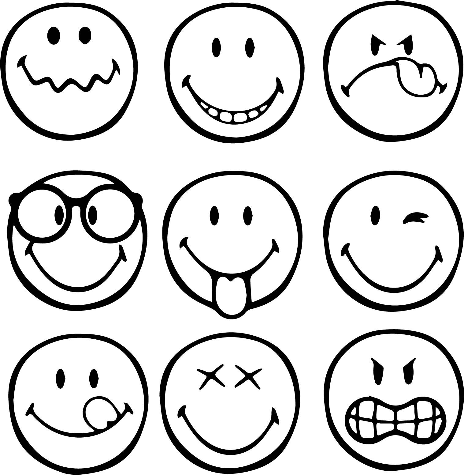Nice First Graphical Emoticons Smiley Coloring Page Emoji