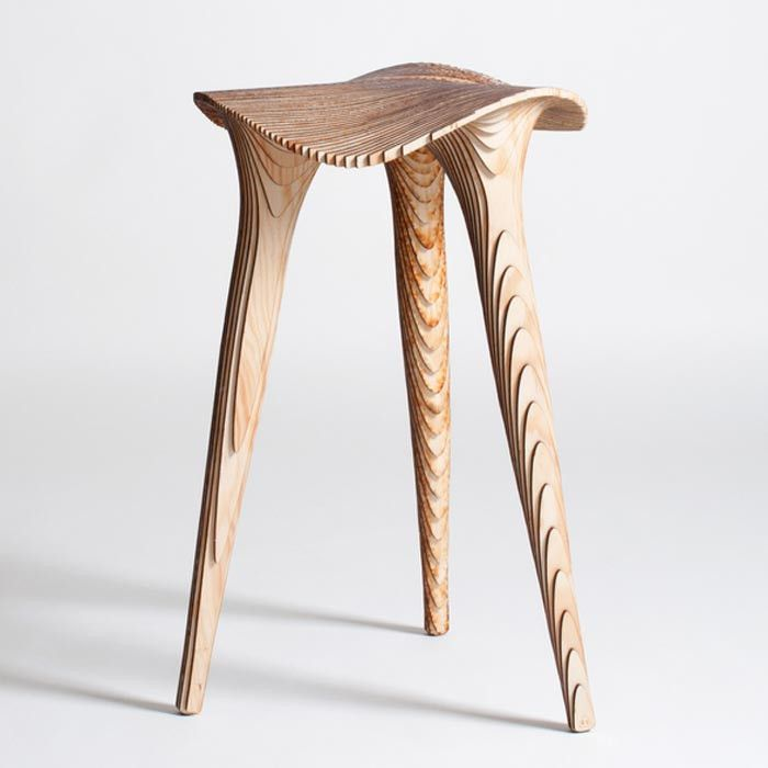 LMBRJK Sadl Stool   Raw   Lime Lace Laser Cut From Stacked Wood Veneer.  Made In Belgium.