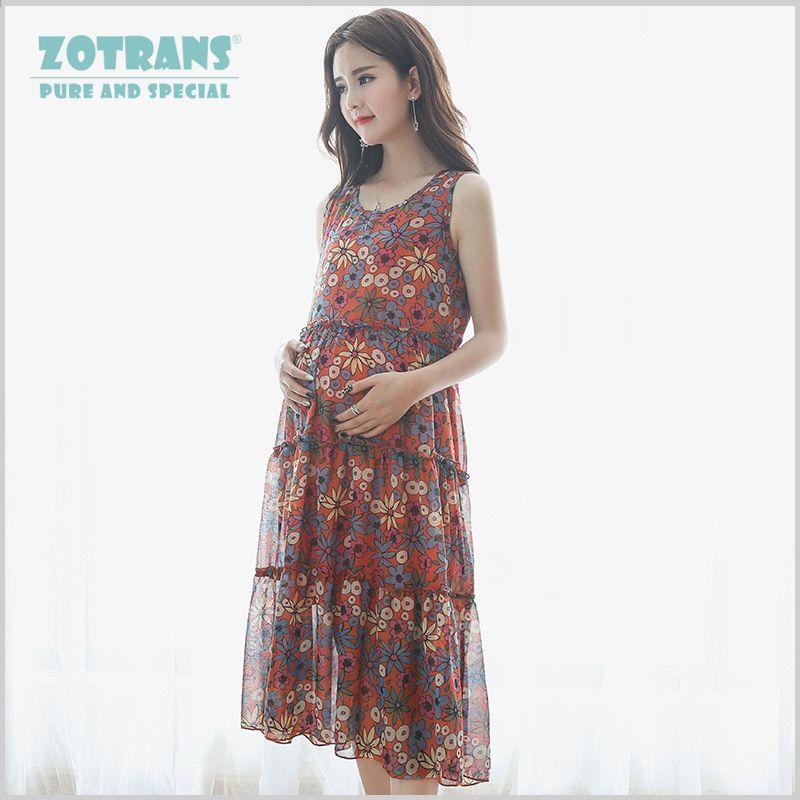 a99705d2f Vestidos largos para mujeres Ropa de embarazo Maternidad Flor de verano  Chaleco de chifón estampado para
