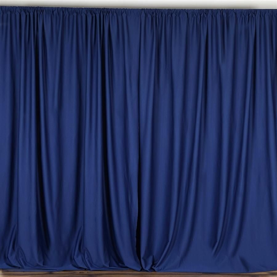 10 Ft X 10 Ft Navy Blue Polyester Professional Backdrop Curtains Drapes Panels Panel Curtains Blue Curtains Drapes Curtains