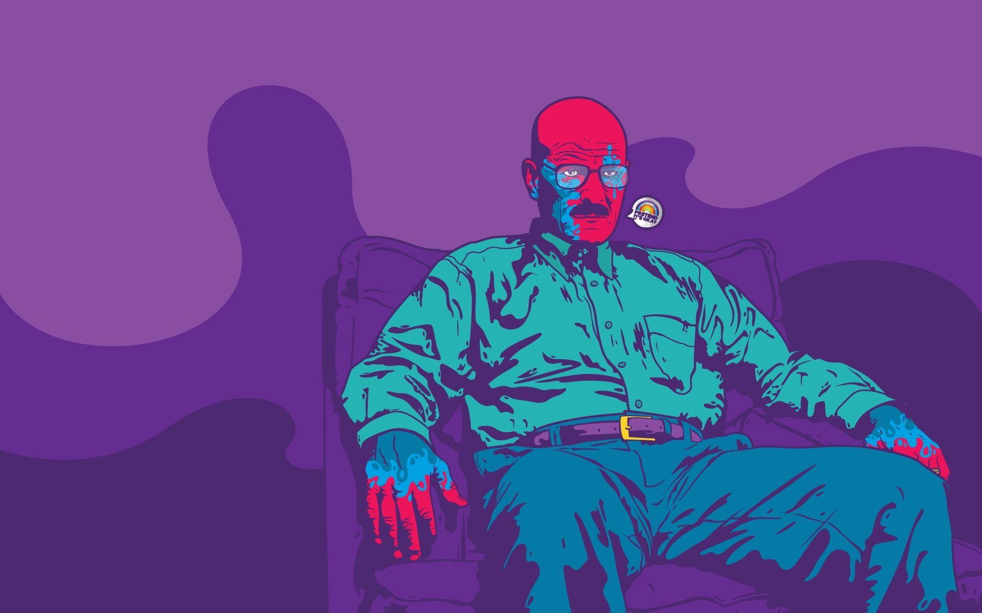 Man Sitting On Sofa Chair Illustration Breaking Bad Chemist Serial 1080p Wallpaper Hdwallpaper Desktop Breaking Bad Illustration Iphone Wallpaper