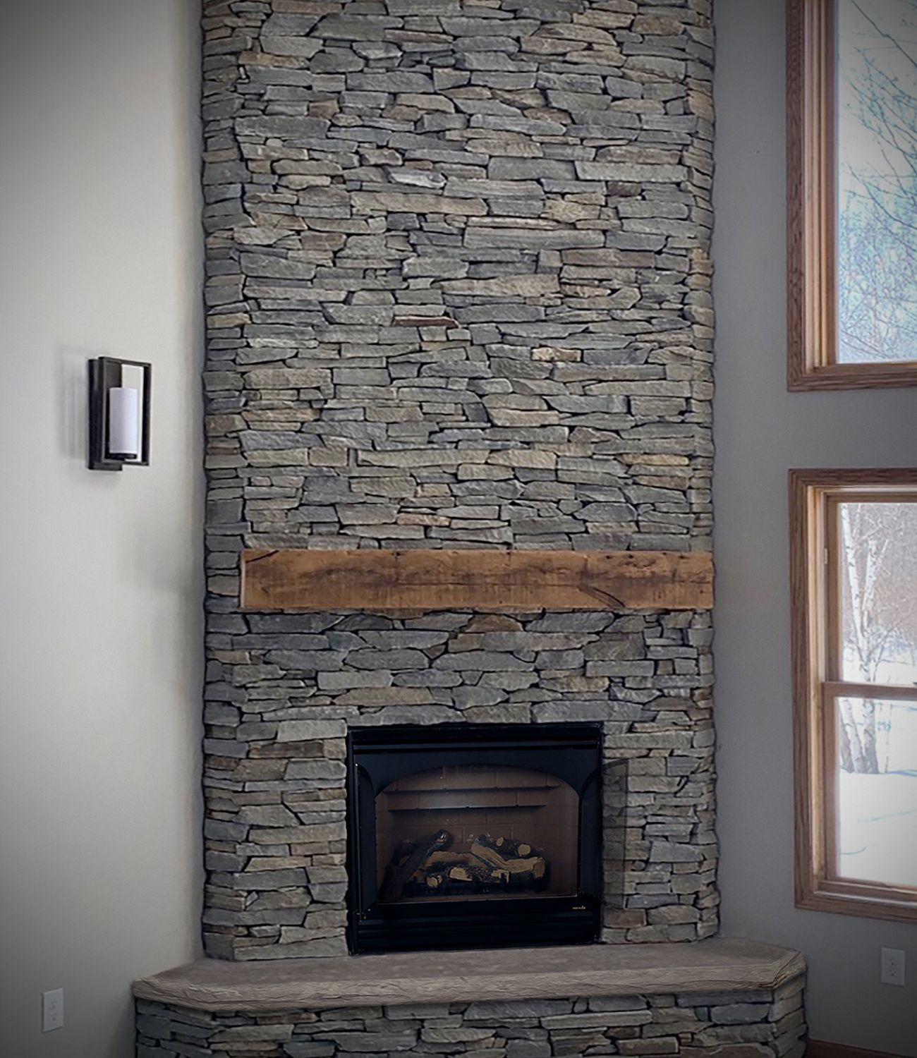 Buechel Stone Fireplace Ledge Stone Veneers Hearth Rustic Wood