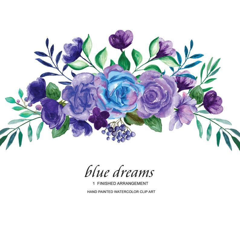 Watercolor Blue Purple Roses Flower Clipart One Arrangement Hand