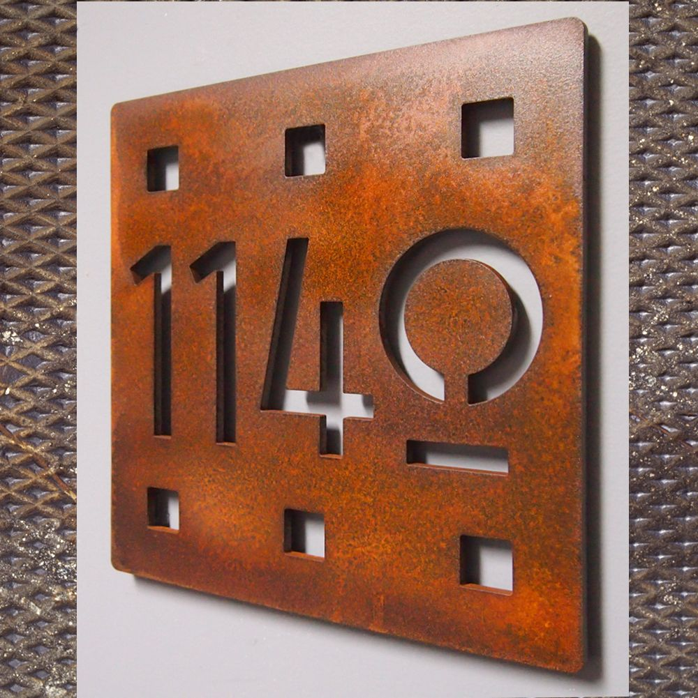 Custom Floating Mission Square House Number Sign In Rusted Steel