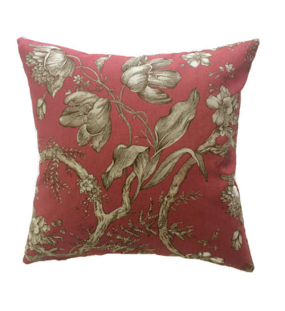Farmhouse French Country Throw Pillow Crimson Red Tan
