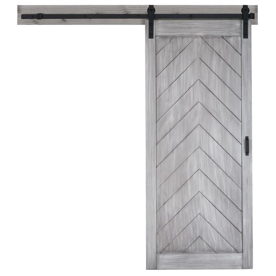 Reliabilt Satin Nickel Gray Stain Prefinished Herringbone Wood Barn Door Hardware Included Common In 2020 Wood Barn Door Barn Door Hardware Herringbone Wood