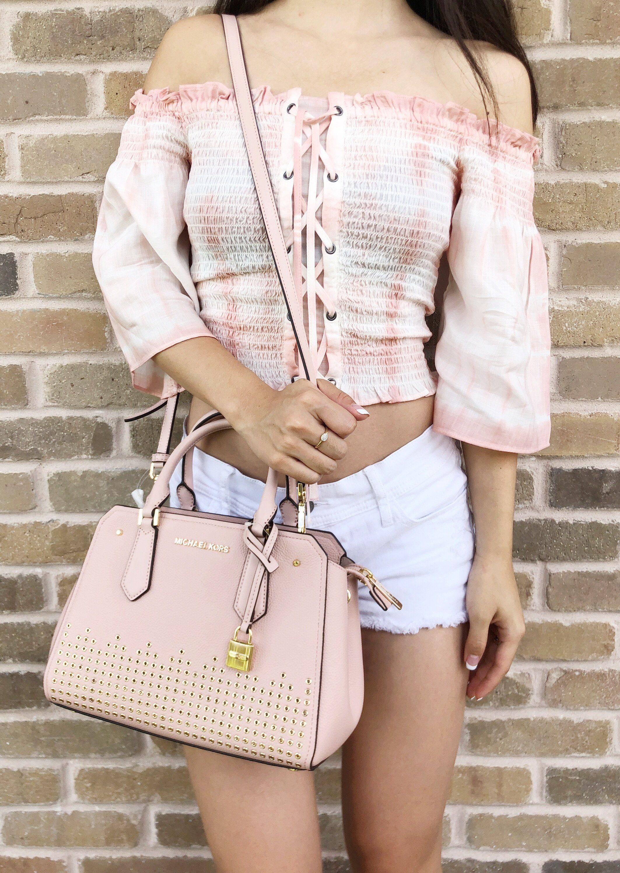 877e3470c1538 Michael Kors Hayes Medium Messenger Pastel Pink  MK  Handbags  MichaelKors
