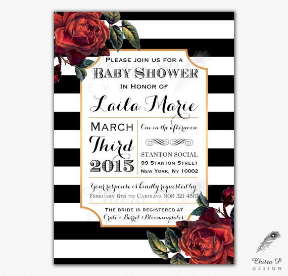 French Baby Shower Invitation - Printed, Red Bridal Couples Gold - bridal shower invitation templates download