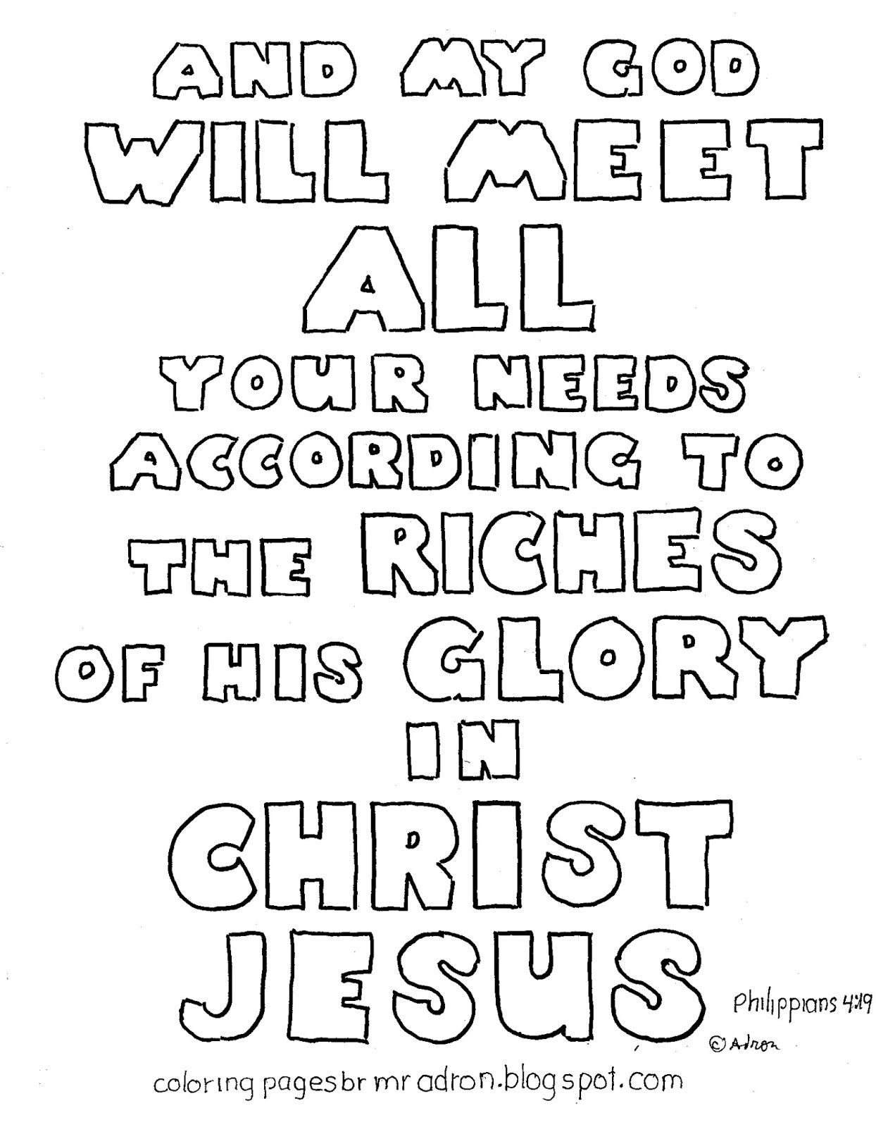 A Bible Verse Picture For The Kids To Color Coloring Pages By Mr Adron Free Philippians 419 Vese Page See More At Blog