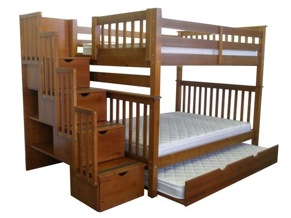 Bedz King Stairway Bunk Bed Full Over In Expresso With A Twin Trundle 1065 At