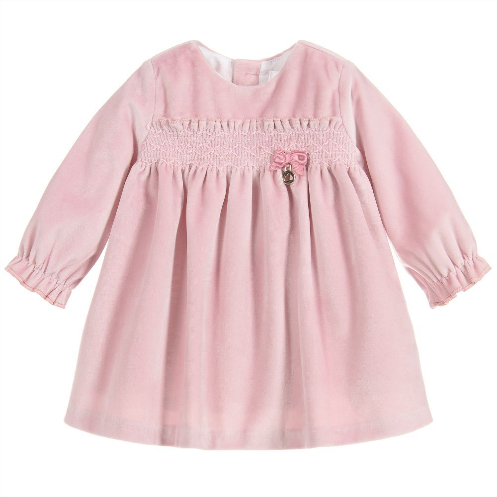 d9ab254b8 Pink Velvet Smocked Dress for Girl by Mayoral Newborn. Discover more ...