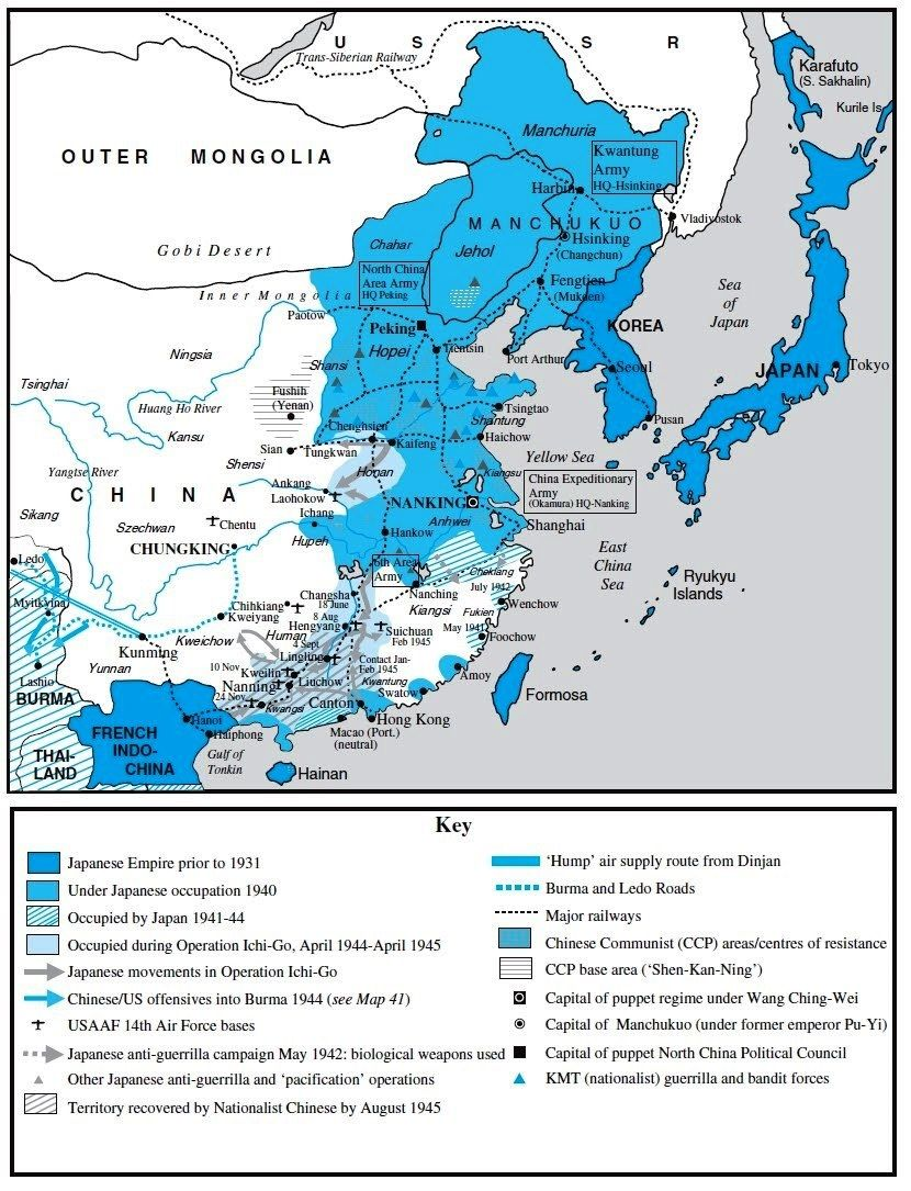 1937-1945) Areas of resistance against Japanese occupation ...