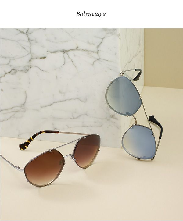 9598e4c1ee5b BALENCIAGA Metal rimless aviator sunglasses with gradient brown lenses and  with gradient smoke lenses.  495 each.