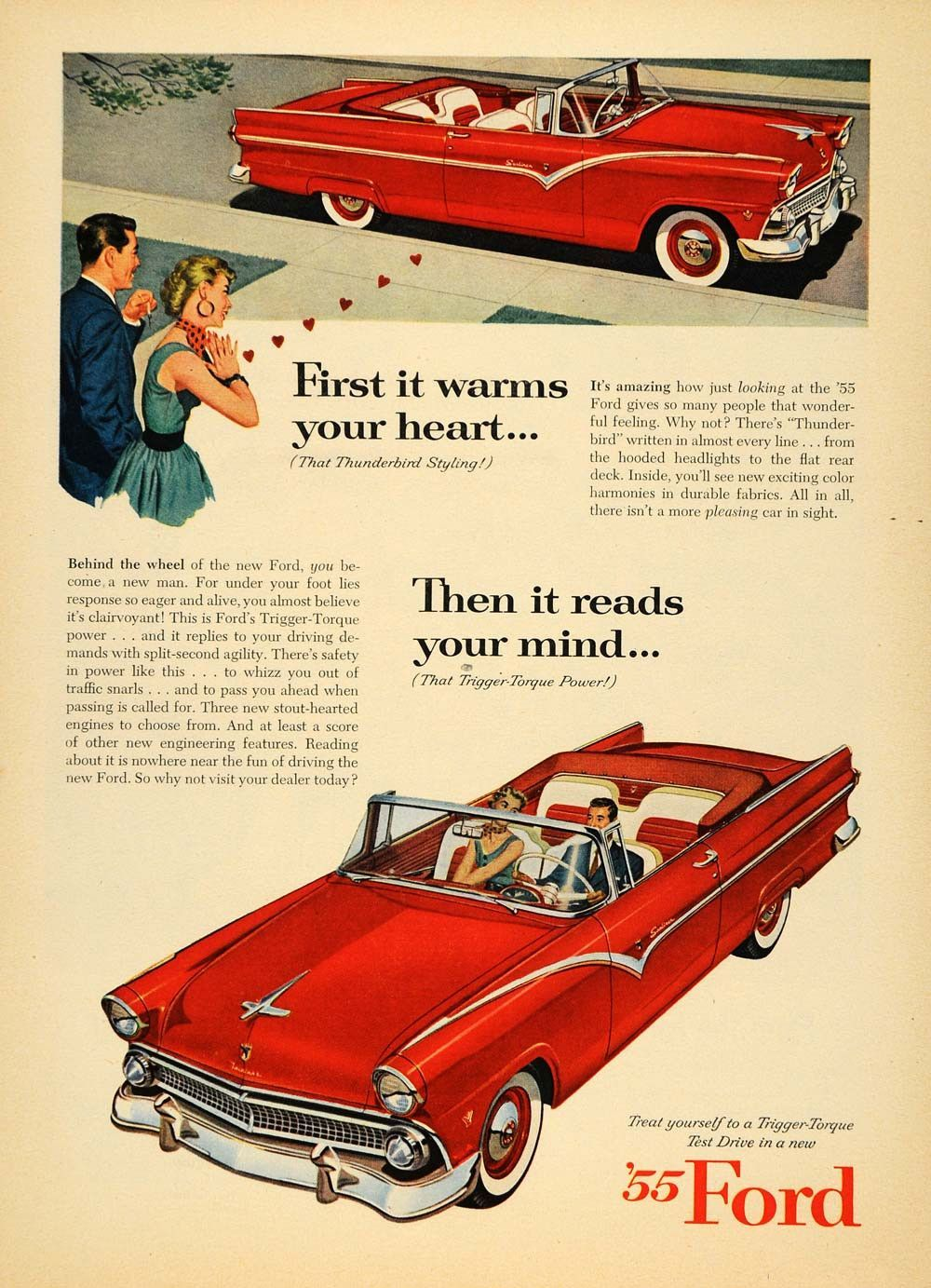 1955 ford fairlane crown victoria blog cars on line - 1955 Ad Red Ford Trigger Torque Car Automobile Hearts Original Advertising Tm6