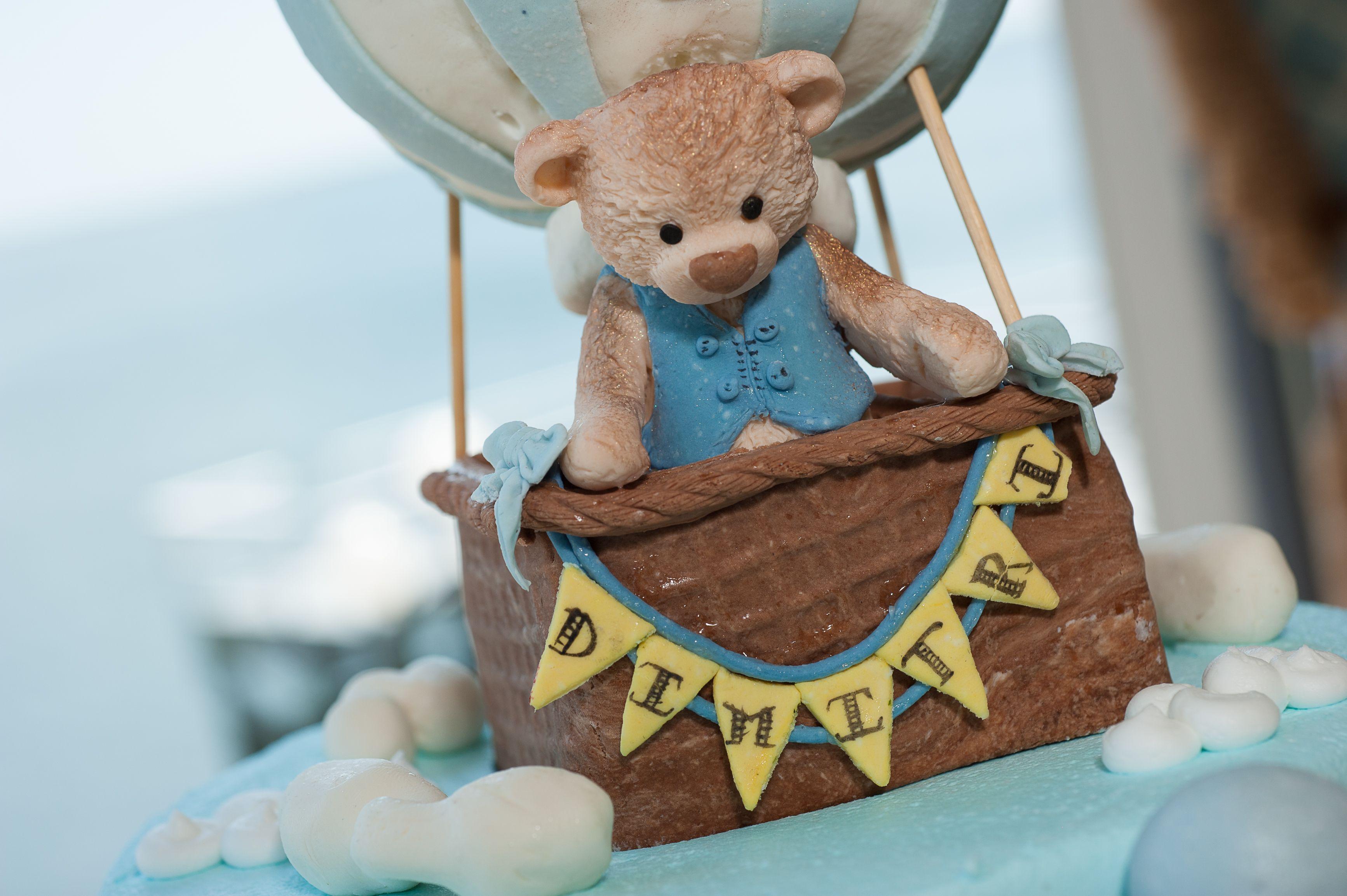 Whimsical Hot Air Balloon Teddy Bear Cake Topper For