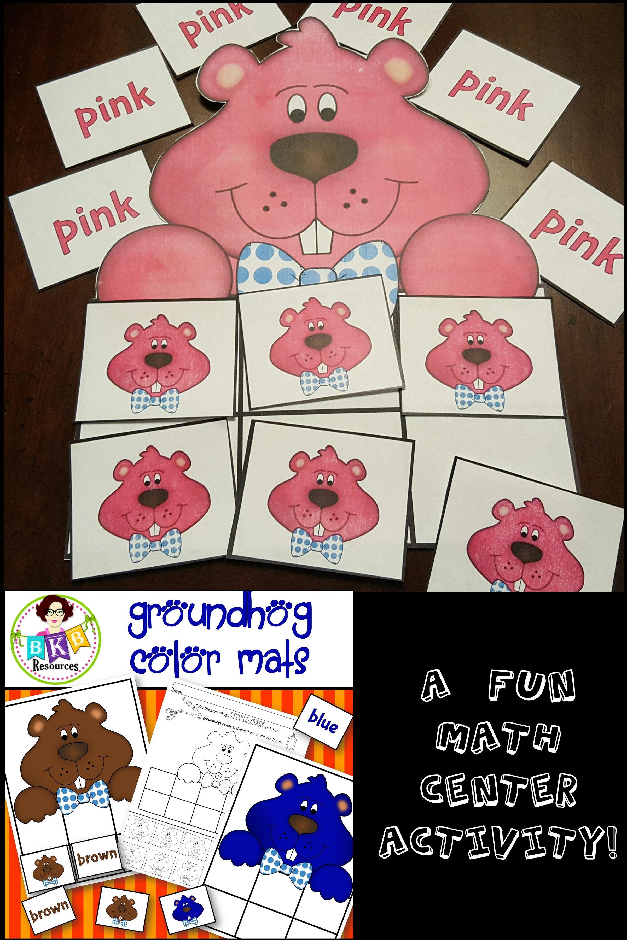 Sorting Groundhog Color Mats Colors Printable