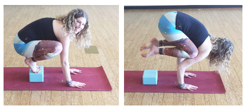 yoga crow pose made easy with blocks