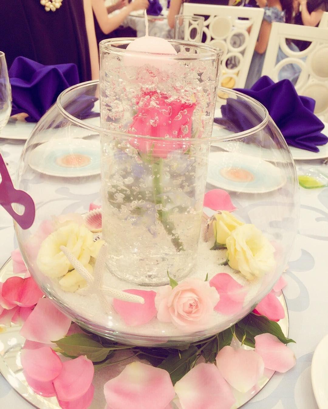 結婚式ゲストテーブル装花に!水に入った花サブマージフラワー