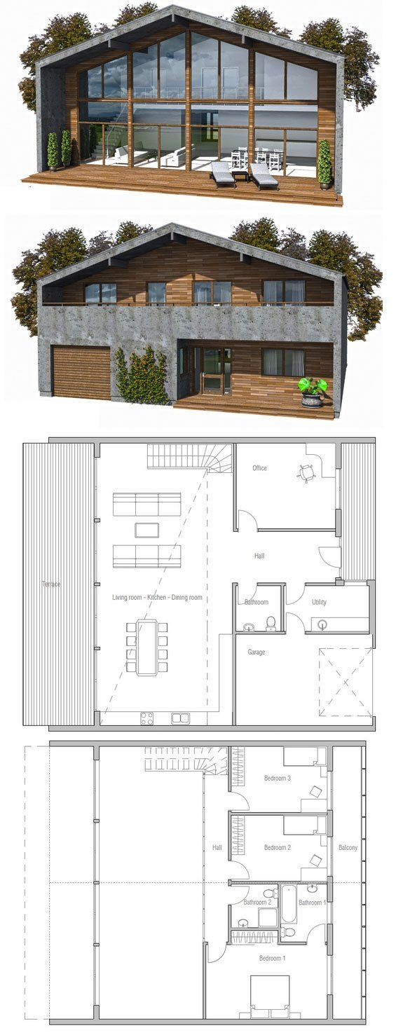 Narrow house with simple lines modern architecture floor for Modern narrow house plans