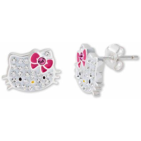 a50c4d930 Hello Kitty Girl's Sterling Silver Clear Crystal Stud Earrings ...