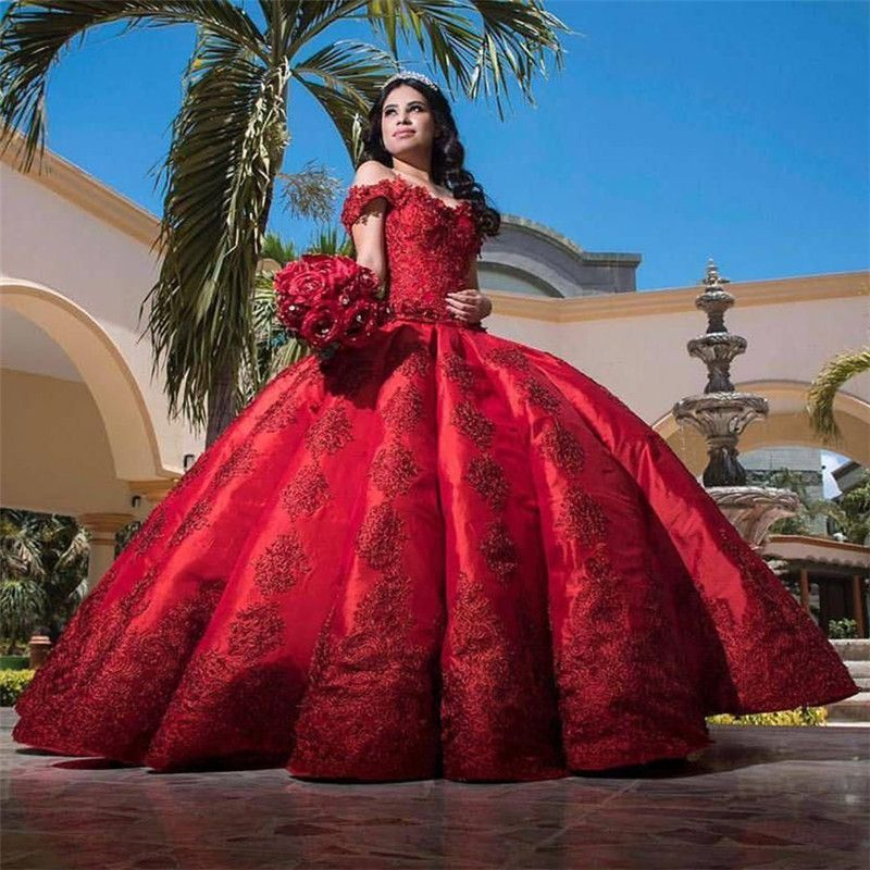 Fascinating Appliques Satin Ball Gown Quinceanera Dress -   15 dress Quinceanera burgundy ideas