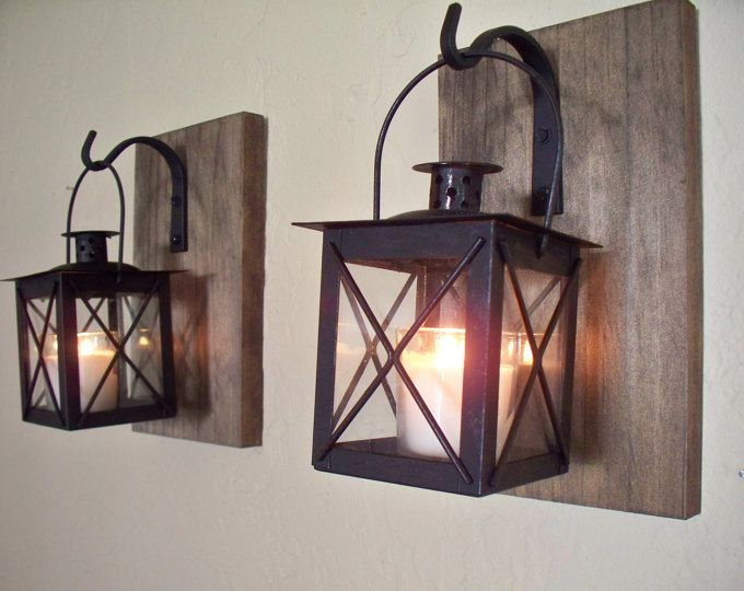 Black lantern pair 2 with wrought iron hooks on recycled wood board for unique wall decor - Apliques de pared rusticos ...