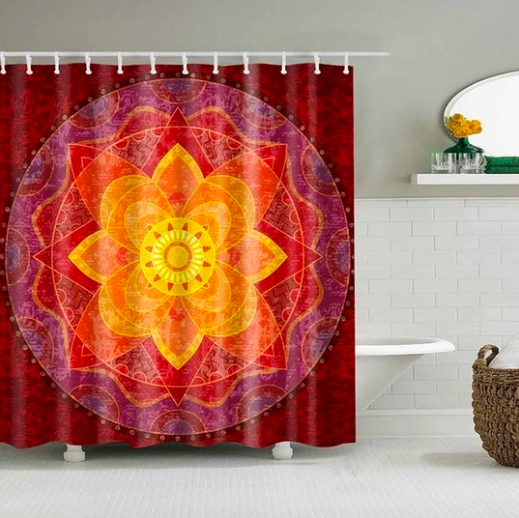 Red Lotus Fabric Shower Curtain Shower Curtain Art Geometric
