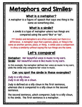 Figurative Language Bell Ringers - Similes and Metaphors ...