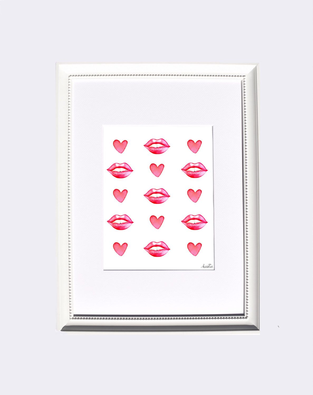 Valentine print hugs and kisses xoxo digital download printable art