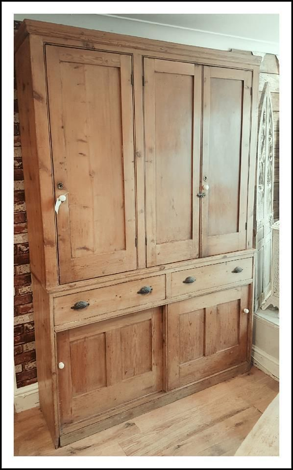 Rare Original Antique pine housekeepers cupboard in Antiques, Antique  Furniture, Cabinets | eBay - Rare Original Antique Pine Housekeepers Cupboard In Antiques