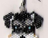 Hand Beaded Schnauzer Dog earrings