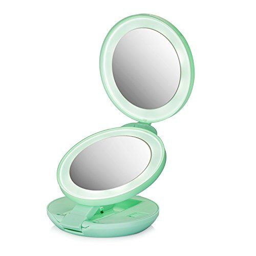 Assis Led Lighted Travel Makeup Mirror With 1x 10x Magnifying
